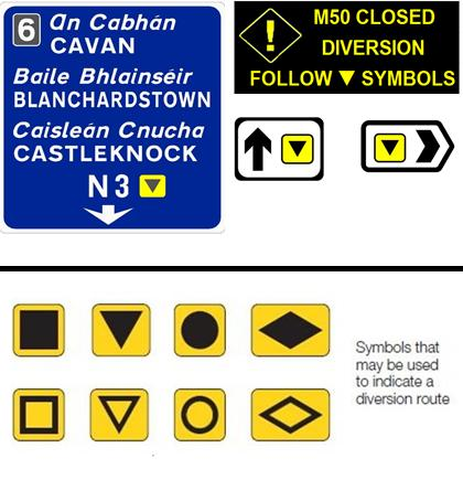 Selection of variable message signs that will be present on the M50.