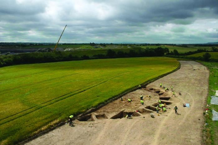 Elevated view of an Early Iron Age enclosure at Ballybannon excavated on the Carlow Bypass. Photo by Rubicon Heritage Services.