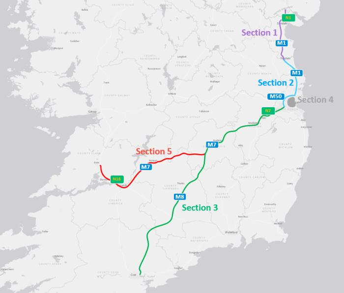 Image of the four sections of the C-ITS pilot route.